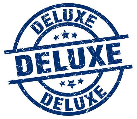 deluxe blue round grunge stamp Illustration