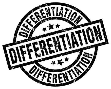 differentiation: differentiation round grunge black stamp