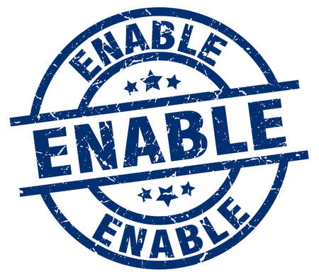 enable: enable blue round grunge stamp