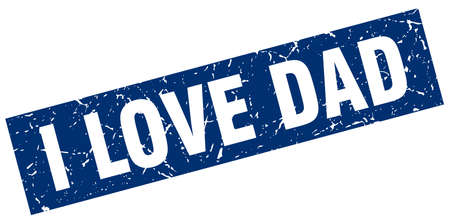 square grunge blue i love dad stamp