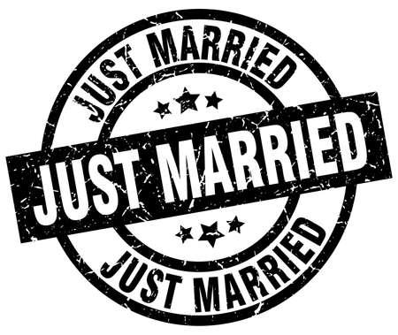 vient de se marier rond timbre noir noir Vecteurs