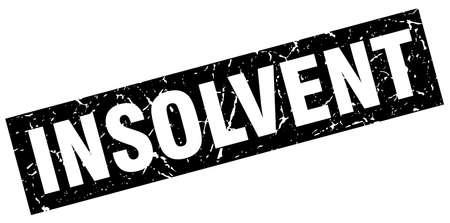 insolvent: square grunge black insolvent stamp