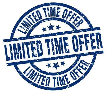 limited time offer blue round grunge stamp Illustration