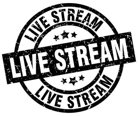live stream round grunge black stamp Illustration