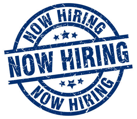 now hiring: now hiring blue round grunge stamp