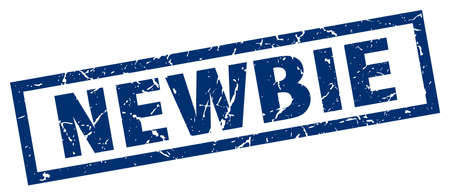 newbie: square grunge blue newbie stamp Illustration