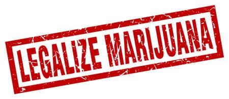 legalize: square grunge red legalize marijuana stamp