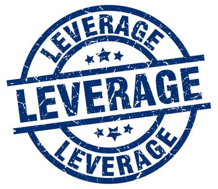 leverage blue round grunge stamp