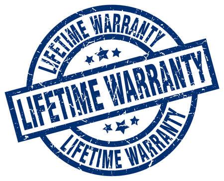 lifetime warranty blue round grunge stamp