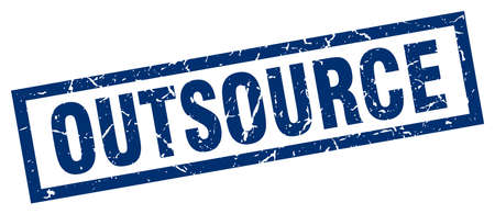 outsource: square grunge blue outsource stamp