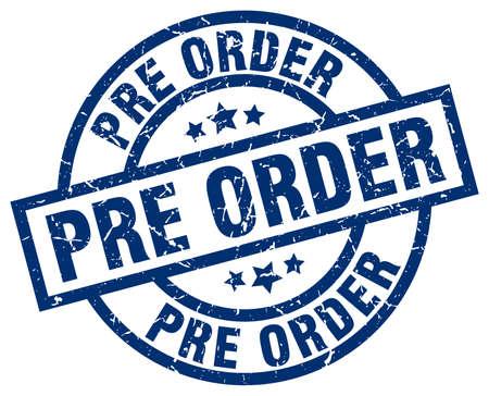 pre order blue round grunge stamp