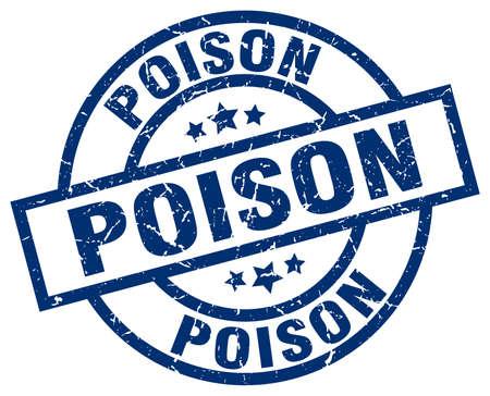 poison: poison blue round grunge stamp