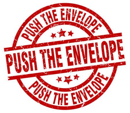 envelope: push the envelope round red grunge stamp