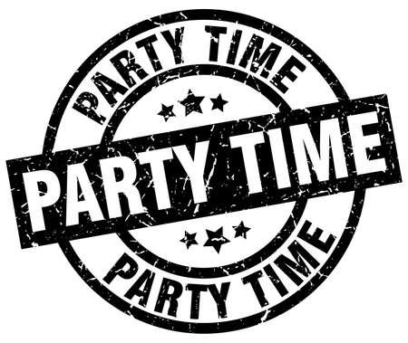 party time round grunge zwarte stempel