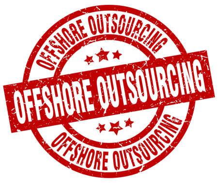 Externalisation offshore cachet grunge rouge ronde Banque d'images - 76642739