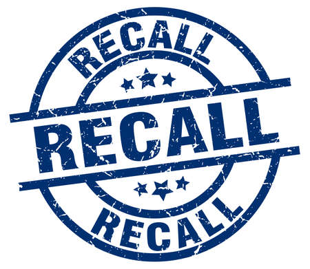 recall blue round grunge stamp