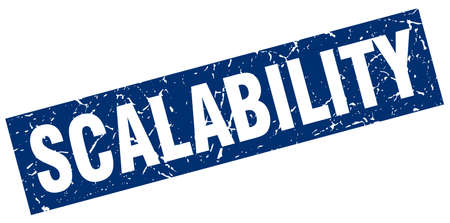 scalability: square grunge blue scalability stamp