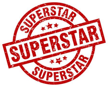 superstar: superstar round red grunge stamp