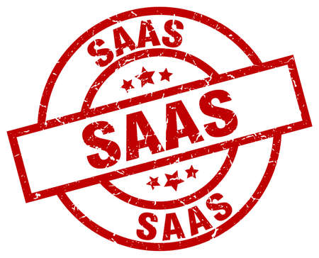 saas: saas round red grunge stamp