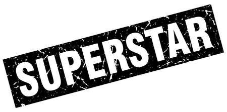 superstar: square grunge black superstar stamp