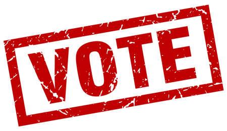 square grunge red vote stamp