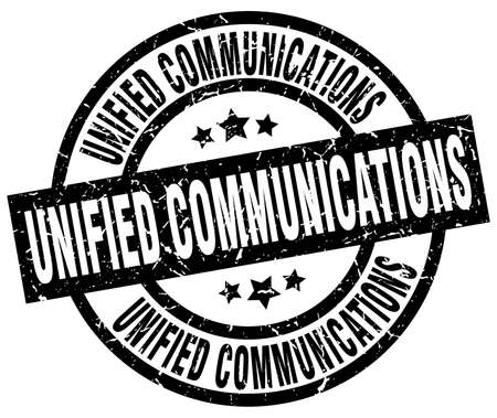 unified communications round grunge black stamp