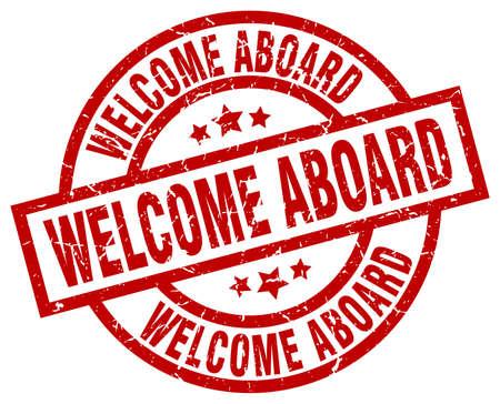 welcome aboard round red grunge stamp
