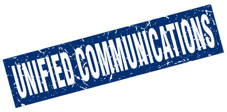 square grunge blue unified communications stamp