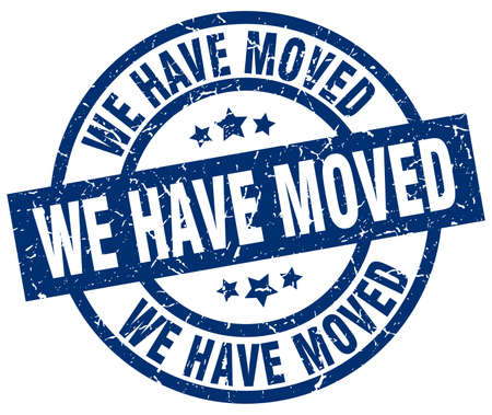we have moved: we have moved blue round grunge stamp Illustration