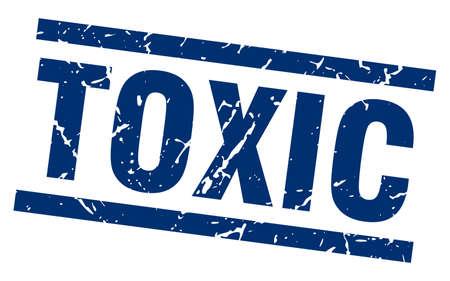 poison: square grunge blue toxic stamp