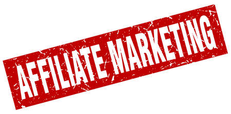 square grunge red affiliate marketing stamp