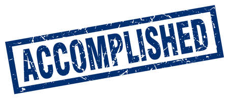 accomplish: square grunge blue accomplished stamp
