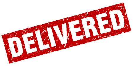 delivered: square grunge red delivered stamp Illustration