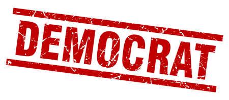 square grunge red democrat stamp