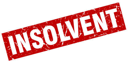 insolvent: square grunge red insolvent stamp