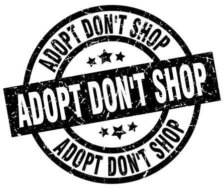 adopt dont shop round grunge black stamp