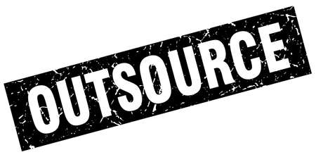 outsource: square grunge black outsource stamp