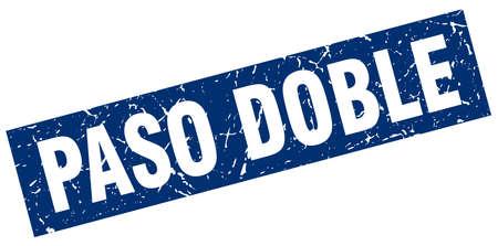 paso doble: square grunge blue paso doble stamp