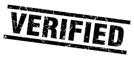 verified: Square grunge black verified stamp