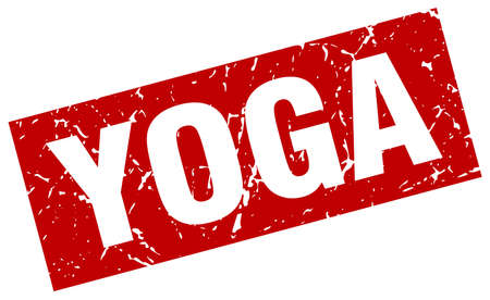 Square grunge red yoga stamp
