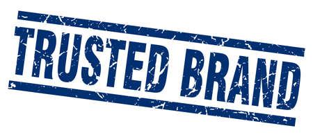 trusted: Square grunge blue trusted brand stamp Illustration