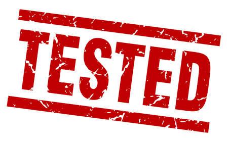 timbre testé carré grunge rouge
