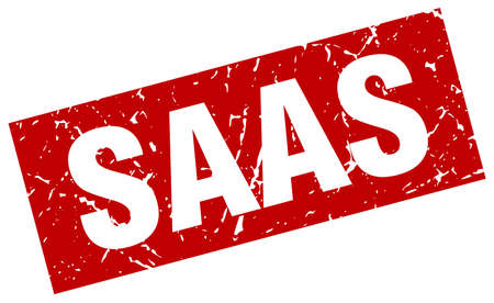 saas: square grunge red saas stamp