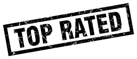 rated: square grunge black top rated stamp Illustration