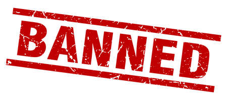 banned: Square grunge red banned stamp