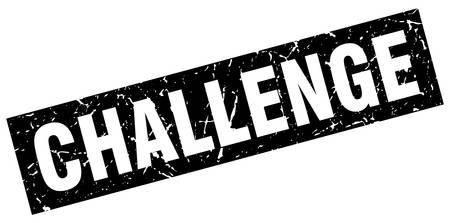 Square grunge black challenge stamp