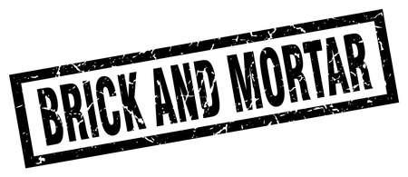 brick and mortar: Square grunge black brick and mortar stamp
