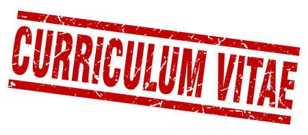 Carré grunge rouge curriculum vitae stamp