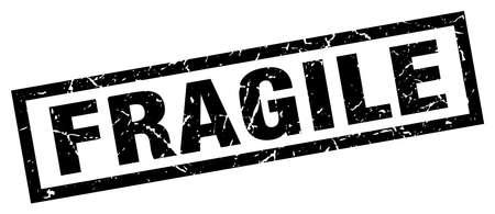 Sello frágil negro cuadrado grunge Ilustración de vector