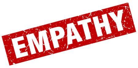 empathy: Square grunge red empathy stamp Illustration